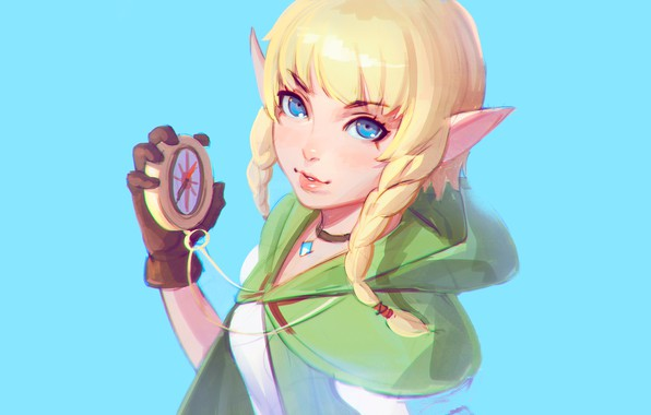Картинка girl, fantasy, blue eyes, blonde, digital art, artwork, compass, fantasy art, Elf, necklace, braids, hood, …