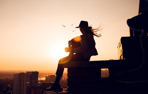 Картинка крыша, девушка, солнце, город, Ленар Абдрахманов, Ангелина Замахина