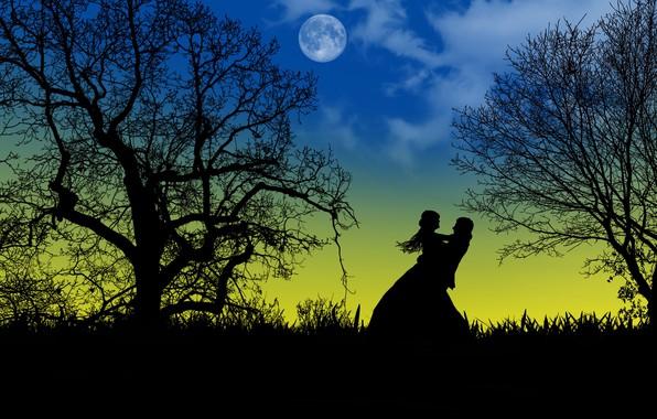 Картинка любовь, ночь, луна, романтика, двое, силуэты, свидание