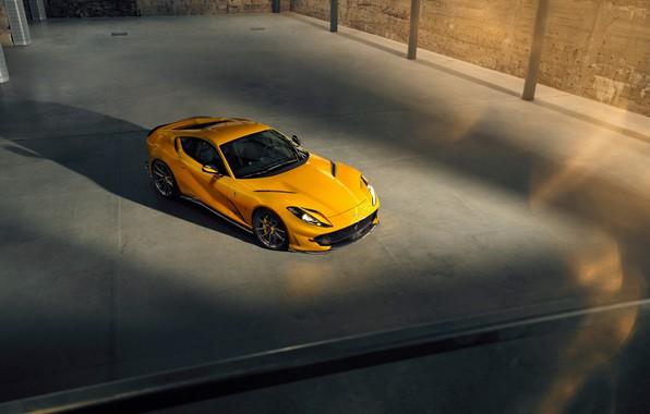 Картинка машина, жёлтый, фары, Ferrari, диски, стильный, спортивный, Superfast, 812, by Novitec