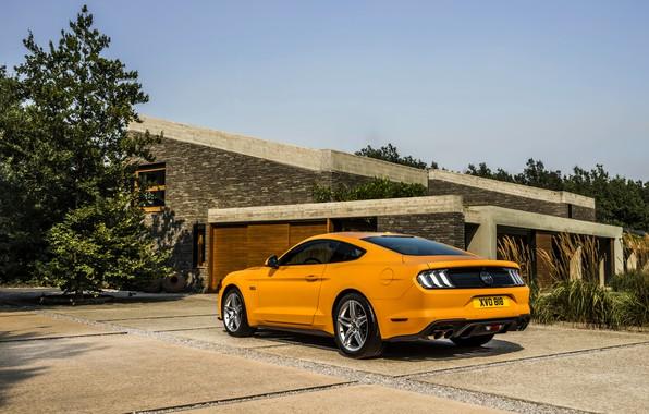 Картинка оранжевый, Ford, стоянка, 2018, фастбэк, Mustang GT 5.0