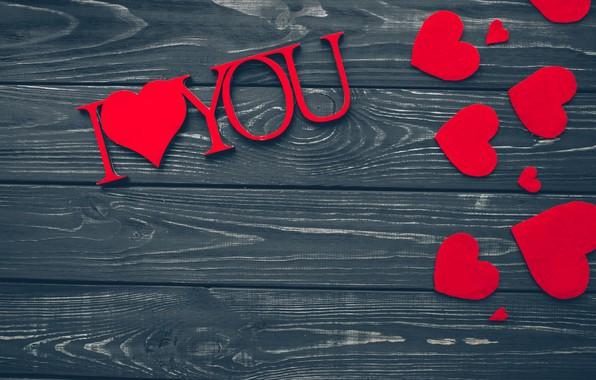 Обои любовь, сердце, red, love, wood, romantic, hearts, valentine's day, gift, I love You