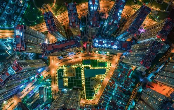 Картинка свет, ночь, город, огни, дома, Китай, вид сверху, высотки, КНР