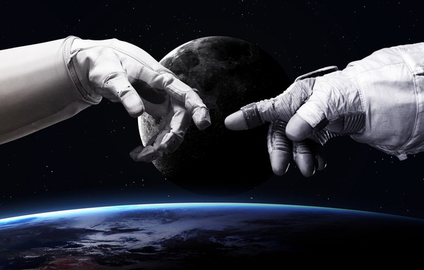Картинка Звезды, Луна, Скафандр, Космос, Земля, Костюм, Руки, Moon, Арт, Stars, Space, Art, Earth, Сотворение Адама, …