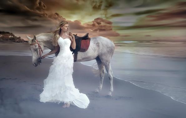 Картинка море, девушка, конь, берег