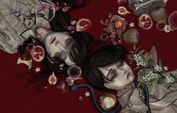 Картинка кости, вампиры, слёзы, чеснок, в крови, парень с девушкой, ядовитая змея, гнилые, укусы, объедки