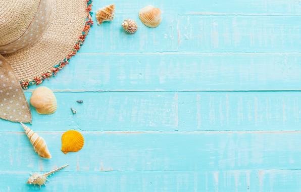 Картинка пляж, лето, доски, шляпа, ракушки, summer, beach, wood, seashells