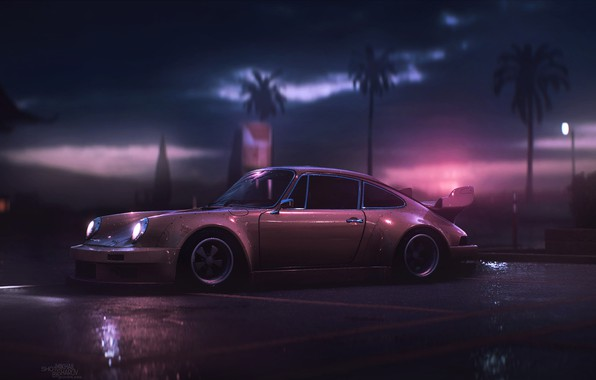Картинка Авто, 911, Porsche, Машина, Art, Porsche 911, Carrera, RSR, Вид сбоку, Synth, Game Art, Porsche ...
