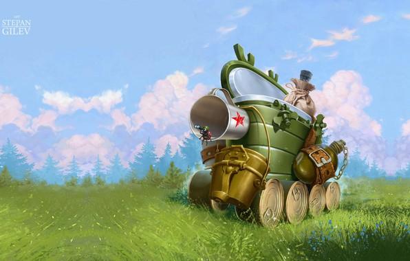 Картинка лето, фантазия, настроение, танк, 23 февраля, детская, с праздником, Stepan Gilev, Self-propelled gun. Самоходка, мальчишкам