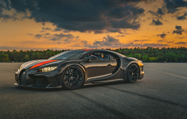 Картинка закат, Prototype, вечер, Bugatti, суперкар, гиперкар, Chiron, 2019, Super Sport 300+