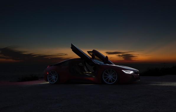 Картинка ночь, BMW, красная, BMW i8