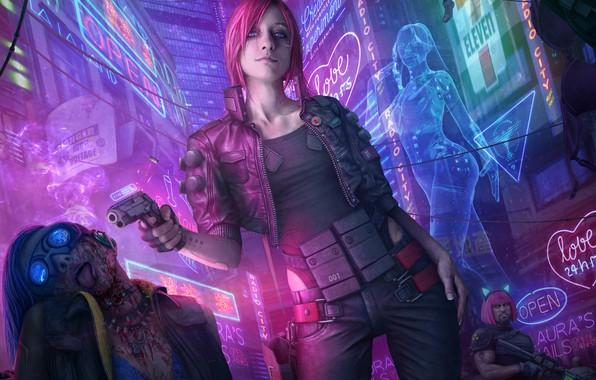 Картинка девушка, ночь, пистолет, фантастика, улица, арт, cyberpunk 2077