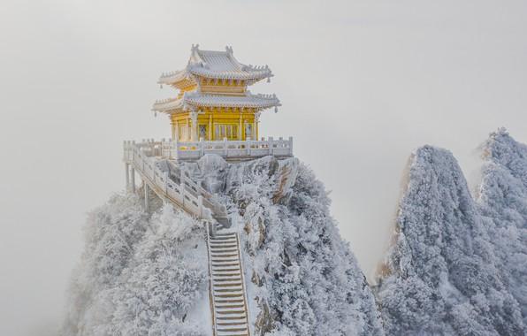 Картинка снег, скалы, мороз, лестница, пагода, rocks, snow, stairs, pagoda, frost