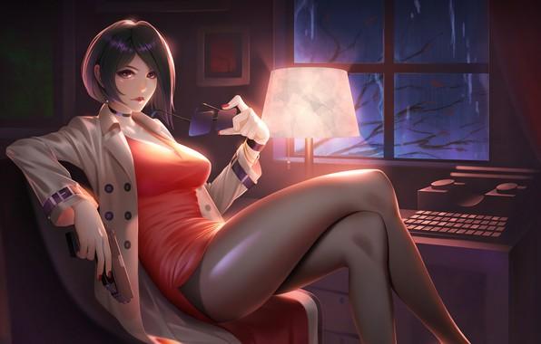 Картинка пистолет, печатная машинка, gun, полумрак, sexy, красивая девушка, short hair, сексуальная, beautiful girl, Ada Wong, …