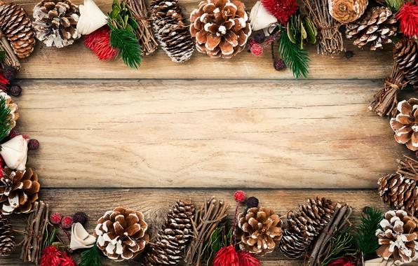 Картинка украшения, Новый Год, Рождество, Christmas, шишки, wood, New Year, decoration, xmas, Merry, fir tree, ветки ...