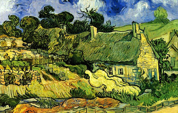 Картинка домик, Vincent van Gogh, Thatched Cottages, at Cordeville