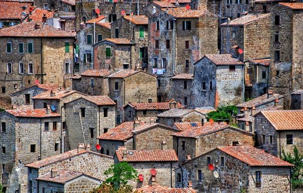 Картинка Italy, Medieval, Sorano, satellite dish