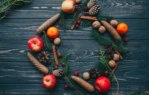 Картинка украшения, яблоки, Новый Год, Рождество, фрукты, Christmas, wood, New Year, мандарины, decoration, Merry, fir tree, …