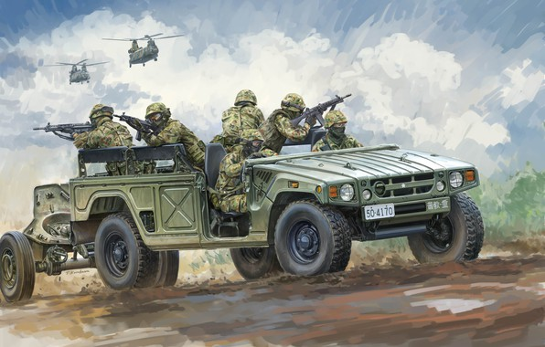 Картинка япония, полноразмерный внедорожник, JGSDF, Силы самообороны Японии, Toyota HMV, Takeshi Kurokawa, Toyota Mega Cruiser