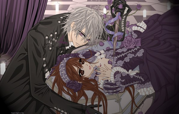 Картинка розы, свечи, перчатки, корсет, гроб, art, vampire knight, yuuki cross, рыцарь-вампир, черный плащ, matsuri hino, …