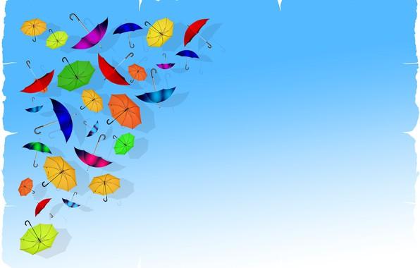 Картинка фон, зонтики, открытка, шаблон, заготовка