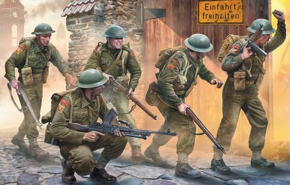 Картинка Thompson, British Army, Lee-Enfield, Bren, Игорь Варавин, британская пехота