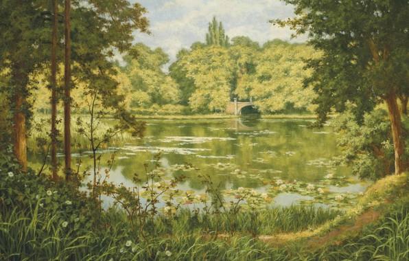 Картинка французский живописец, Лесное озеро, French painter, Henri Biva, Анри Бива, A woodland lake