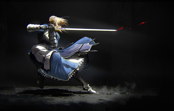 Картинка девушка, движение, меч, сейбер, Судьба ночь схватки, Fate / Stay Night