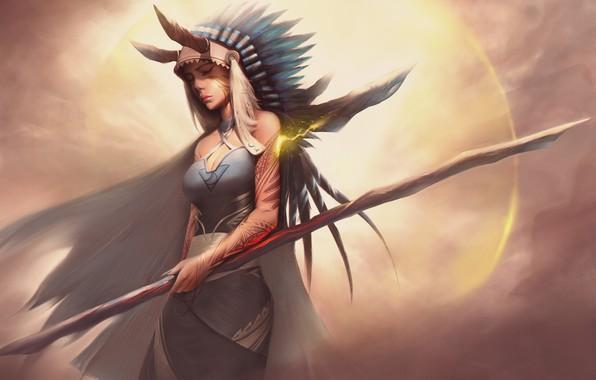 Картинка Girl, Fantasy, Art, Magic, Feathers, Staff, Shaman, Indian Roach
