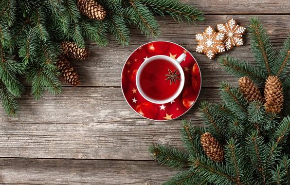 Картинка украшения, Новый Год, Рождество, Christmas, wood, cup, New Year, tea, decoration, xmas, Merry, fir tree, …