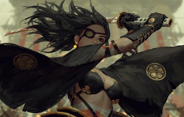 Картинка кровь, катана, самурай, удар, перчатки, эмблема, черные волосы, art, поединок, повязка на глаз, черный плащ, …