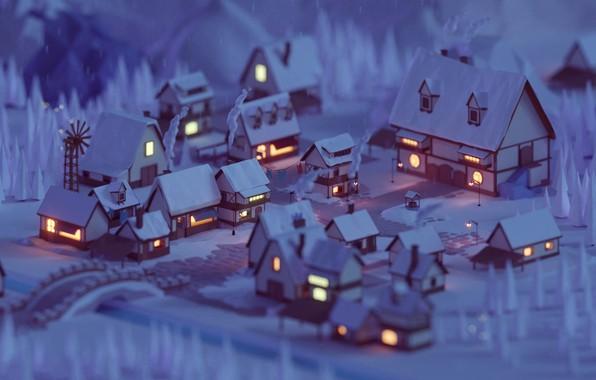 Картинка lights, windows, forest, trees, bridge, night, winter, snow, street, houses, village, artist, rendering, digital art, …