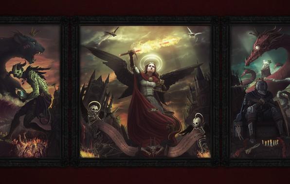 Картинка Дракон, Ангел, Магия, Апокалипсис, Картины, Битва, Fantasy, Демоны, Арт, Конец, Рыцарь, Фантастика, Illustration, Дьявол, Characters, …