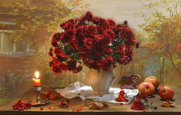 Картинка цветы, стиль, яблоки, свеча, букет, хризантемы, осенний натюрморт, Валентина Колова