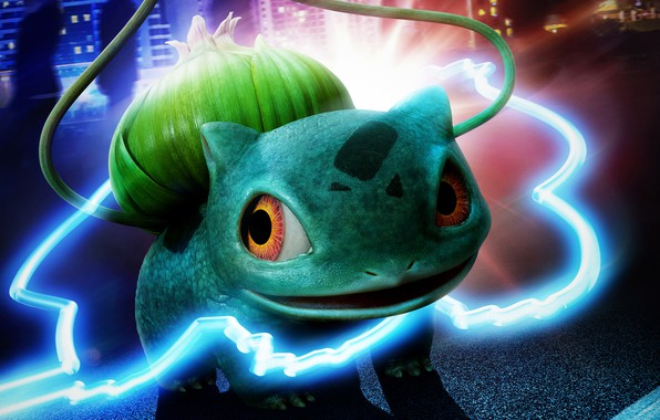Картинка неон, покемон, pokemon, bulbasaur, луковица, бульбасавр, травяной