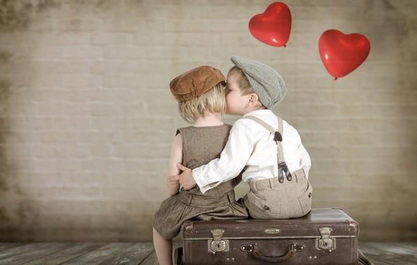 Картинка дети, поцелуй, мальчик, девочка, сердечки