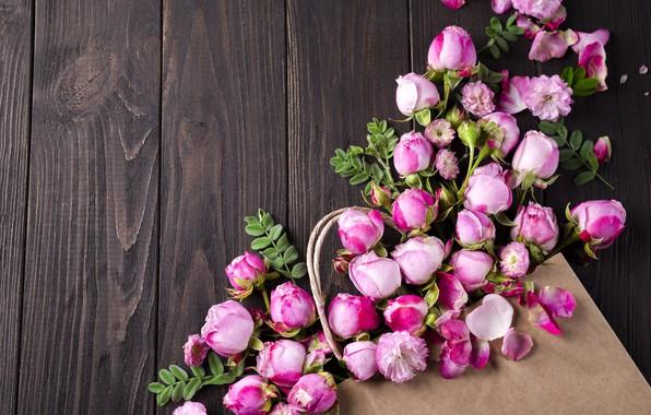 Картинка цветы, розы, лепестки, розовые, white, wood, pink, flowers, beautiful, petals, roses