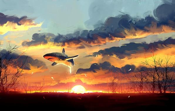 Картинка Закат, Солнце, Акула, Fantasy, Art, Фантастика, Concept Art, Dominik Mayer, by Dominik Mayer, 30 min ...