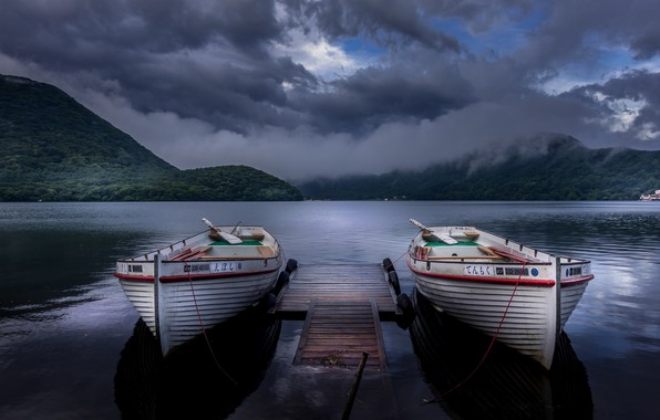 Картинка Japan, boats, Twins, Gunma, after the rain, after the storm, romantic place, Haruna Lake