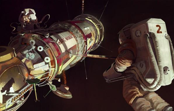 Картинка Рисунок, Космос, Астронавт, Космонавт, USSR, СССР, Марс, Арт, Space, Mars, Illustration, Concept Art, Spaceship, Science …