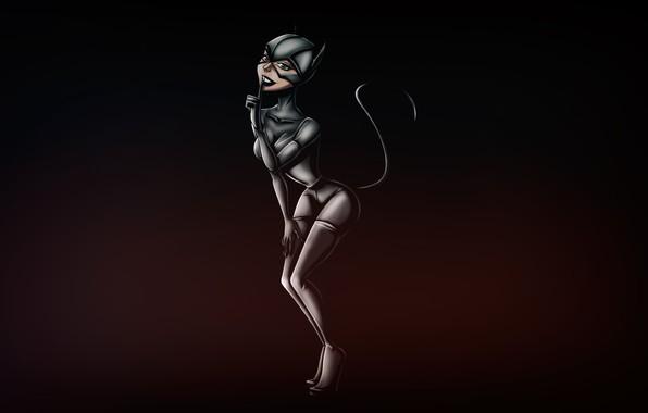 Картинка Минимализм, Рисунок, Кошка, Костюм, Фон, Латекс, Комикс, Art, Женщина кошка, Comics, DC Comics, Catwoman, Characters, ...