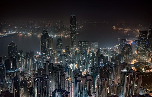 Картинка ночь, Гонконг, небоскрёбы, мегаполис, Hong Kong