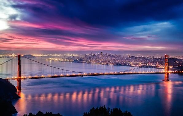 Картинка city, lights, USA, Golden Gate Bridge, twilight, skyline, sky, sea, bridge, sunset, California, clouds, evening, …