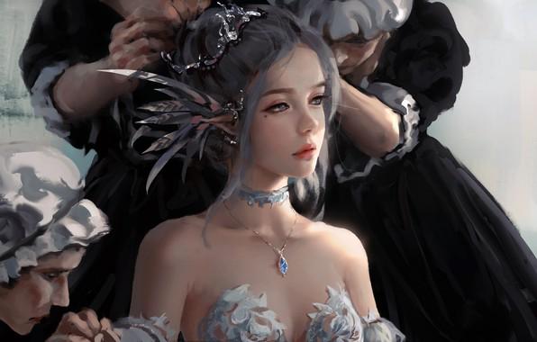 Картинка girl, fantasy, dress, blue eyes, lips, face, elf, digital art, artwork, princess, situation, fantasy art, ...