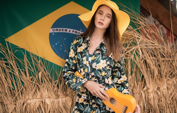 Картинка модель, Девушка, шляпа, фигура, платье, флаг, причёска, укулеле, Disha Shemetova, Олег Демьянченко