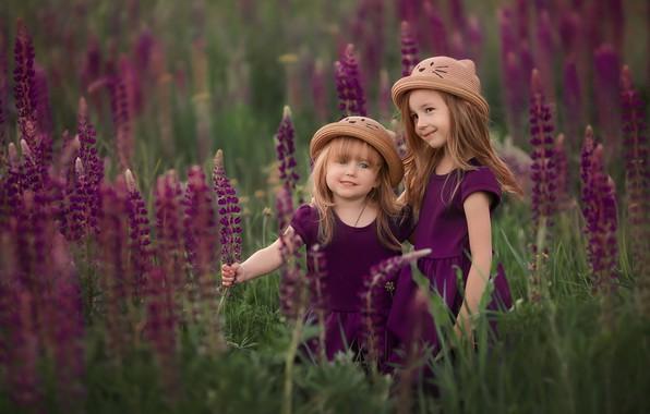 Картинка цветы, дети, настроение, девочки, луг, шляпки, люпины, две девочки