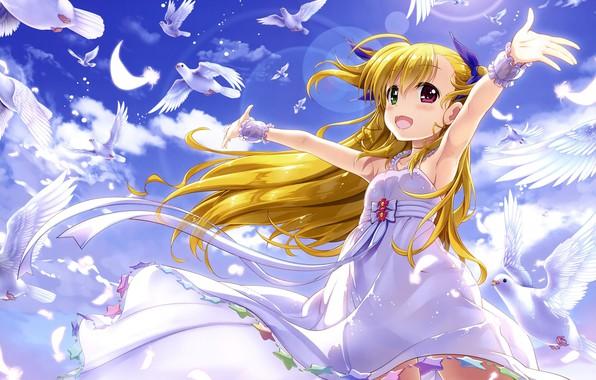 Картинка Небо, Облака, Птицы, Девочка, Голуби, Mahou Shoujo Lyrical Nanoha