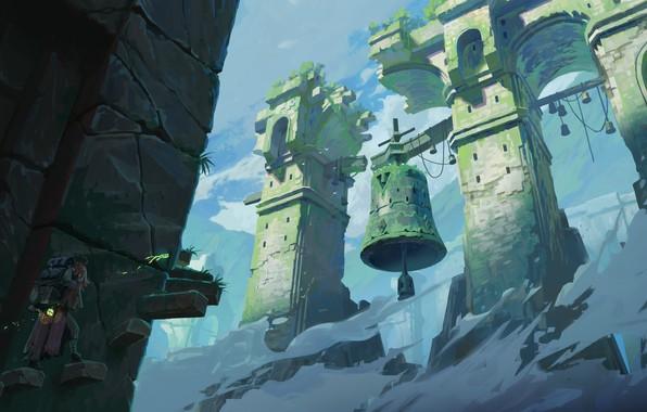 Картинка fantasy, sky, clouds, man, ruins, digital art, artwork, fantasy art, bell, lantern, stairs, Tower, backpack