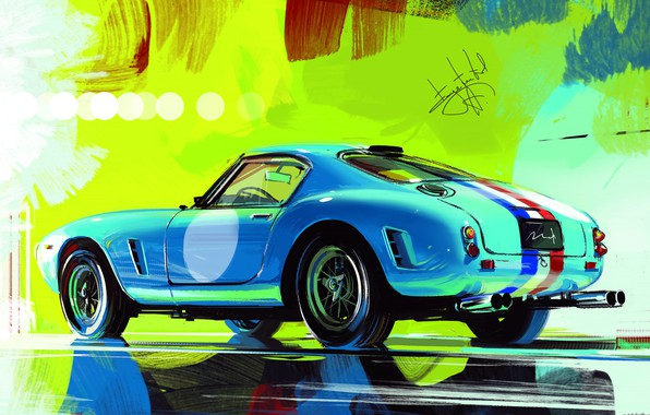 Картинка Car, Art, Retro, Sketch, Aleksandr Sidelnikov, Ferrari 250 GT SWB Berlinetta