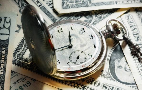 Картинка часы, деньги, банкноты